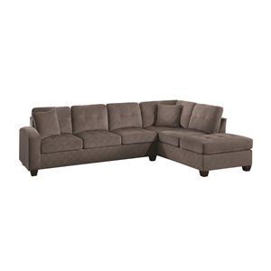 Sectionnel moderne Caulfield polyester taupe de HomeTrend