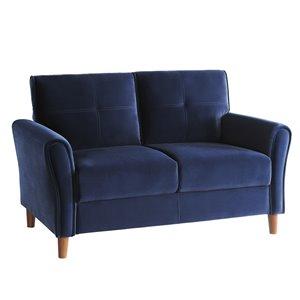 Causeuse moderne Dunleith velours bleu de HomeTrend