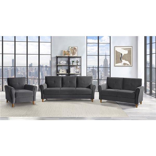 HomeTrend Dunleith Modern Grey Velvet Sofa