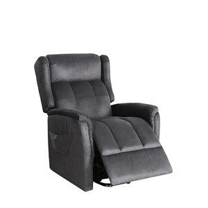 Chaise d'appoint polyester moderne gris taupe Oscar de HomeTrend, ens. de 1