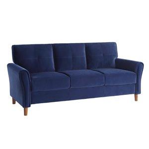 HomeTrend Dunleith Modern Blue Velvet Sofa