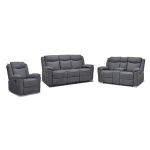 Mazin Industries Midland Living Room Set - Dark Grey