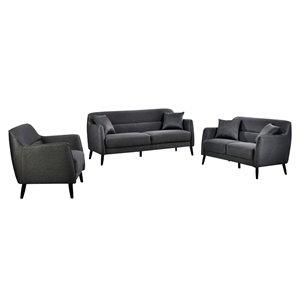 HomeTrend Georgina Living Room Set - Dark Grey