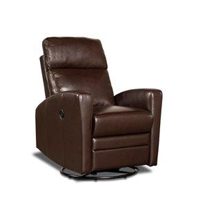 Fauteuil inclinable électrique pivotant Barnett similicuir brun foncé par HomeTrend