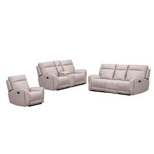 Mazin Industries Jonathan Living Room Set - Light Smokey Grey