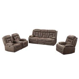 Mazin Industries Chocolate Brown Ace Living Room Set