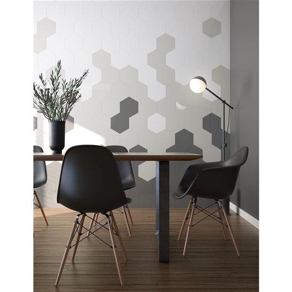 Tuile murale autoadhésive grise ACP Speedtiles Géant, aluminium lustré, 9,4 po x 10,8 po x 0.2 po, hexagonale, paquet de 4