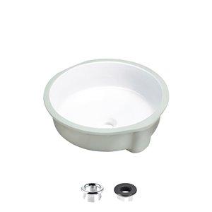 Lavabo de salle de bain rond sous-comptoir en porcelaine blanche avec drain trop-plein de Stylish (16 po x 16 po)