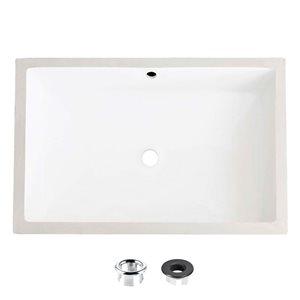 Lavabo de salle de bain rectangulaire sous-comptoir en porcelaine blanche avec drain trop-plein de Stylish (24 po x 16 po)