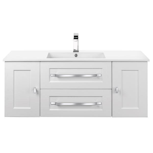 Cutler Kitchen & Bath Riga 48-in White Single Sink Bathroom Vanity With  White Acrylic Top RONA