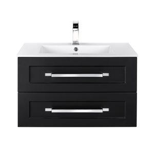 Meuble-lavabo Riga noir 30 po, lavabo simple avec comptoir en acrylique blanc par Cutler Kitchen & Bath