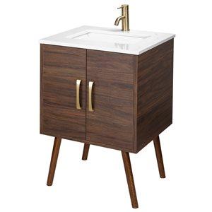 Meuble-lavabo Garland II brun 24 po, lavabo simple avec comptoir en acrylique blanc par Cutler Kitchen & Bath