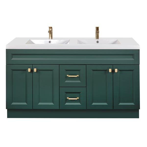 Cutler Kitchen Bath Casa 60 In Single Sink Green Bathroom Vanity With White Acrylic Top Casabsv60dbt Rona