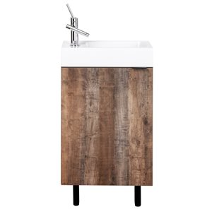 Meuble-lavabo Studio brun 18 po, lavabo simple avec comptoir en acrylique blanc par Cutler Kitchen & Bath