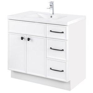 Meuble-lavabo Manhattan blanc 36 po, lavabo simple avec comptoir en acrylique blanc par Cutler Kitchen & Bath