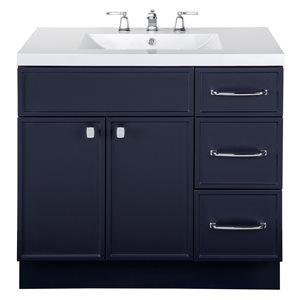 Meuble-lavabo Manhattan bleu marin 36 po, lavabo simple avec comptoir en acrylique blanc par Cutler Kitchen & Bath