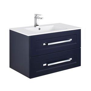 Meuble-lavabo Riga bleu 30 po, lavabo simple avec comptoir en acrylique blanc par Cutler Kitchen & Bath