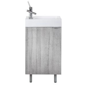 Meuble-lavabo Studio gris 18 po, lavabo simple avec comptoir en acrylique blanc par Cutler Kitchen & Bath