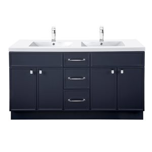 Meuble-lavabo Manhattan bleu marin 60 po, lavabo double avec comptoir en acrylique blanc par Cutler Kitchen & Bath