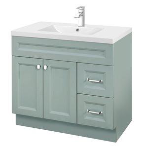 Meuble-lavabo Casa vert 36 po, lavabo simple avec comptoir en acrylique blanc par Cutler Kitchen & Bath