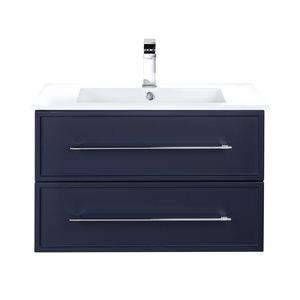 Meuble-lavabo Milano bleu 30 po, lavabo simple avec comptoir en acrylique blanc par Cutler Kitchen & Bath