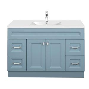 Meuble-lavabo Casa bleu 48 po, lavabo simple avec comptoir en acrylique blanc par Cutler Kitchen & Bath