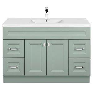 Meuble-lavabo Casa vert 48 po, lavabo simple avec comptoir en acrylique blanc par Cutler Kitchen & Bath
