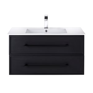 Meuble-lavabo Milano noir 36 po, lavabo simple avec comptoir en acrylique blanc par Cutler Kitchen & Bath
