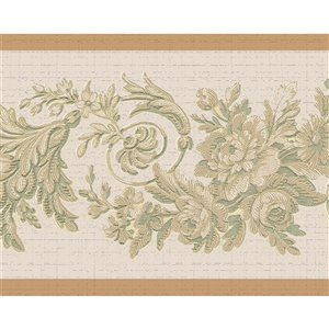 Dundee Deco 7-in Self-Adhesive Wallpaper Border Green/Beige