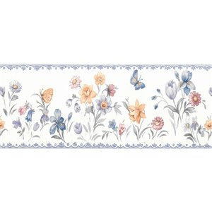 Dundee Deco 3.5-in Blue/Purple/Green/Pink Prepasted Wallpaper Border