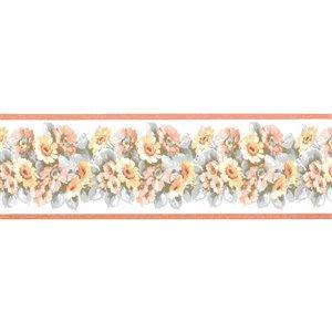 Bordure de papier peint de 3,5 po préencollée par Dundee Deco, orange brûlé, vert, jaune