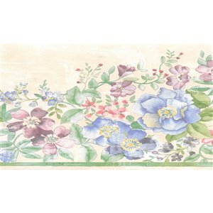 Dundee Deco 7-in Green/Pink/Beige/Blue Prepasted Wallpaper Border