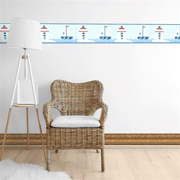 Dundee Deco 6-in Blue/White/Red Prepasted Wallpaper Border