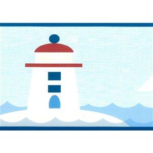 Bordure de papier peint de 6 po préencollée par Dundee Deco, bleu, blanc, rouge