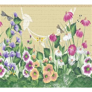 Bordure de papier peint de 7 po auto-adhésive par Dundee Deco, rose éclatant, mauve
