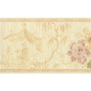Bordure de papier peint de 5,25 po préencollée par Dundee Deco, beige, vert, or