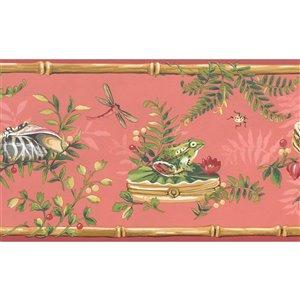 Bordure de papier peint de 6,8 po préencollée par Dundee Deco, rose rouge, vert, marron