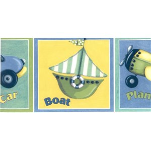 Dundee Deco 5-in Blue/Yellow/Green Prepasted Wallpaper Border