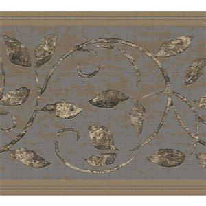 Bordure de papier peint de 7 po auto-adhésive par Dundee Deco, or, marron, gris