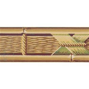 Bordure de papier peint de 3,5 po préencollée par Dundee Deco, jaune, vert, marron