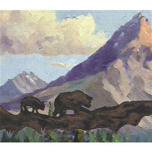 Bordure de papier peint de 7 po auto-adhésive par Dundee Deco, marron, violet, blanc