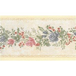 Bordure de papier peint de 5,25 po préencollée par Dundee Deco, rose, rouge, bleu