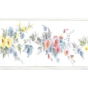 Dundee Deco 4-in Blue/Pink/Yellow Prepasted Wallpaper Border