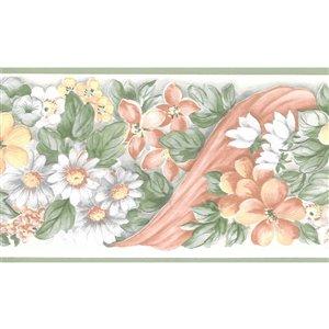 Bordure de papier peint de 5,2 po préencollée par Dundee Deco, vert, blanc, rose