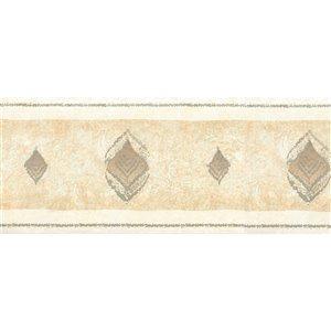 Bordure de papier peint de 5,25 po préencollée par Dundee Deco, beige, vert clair