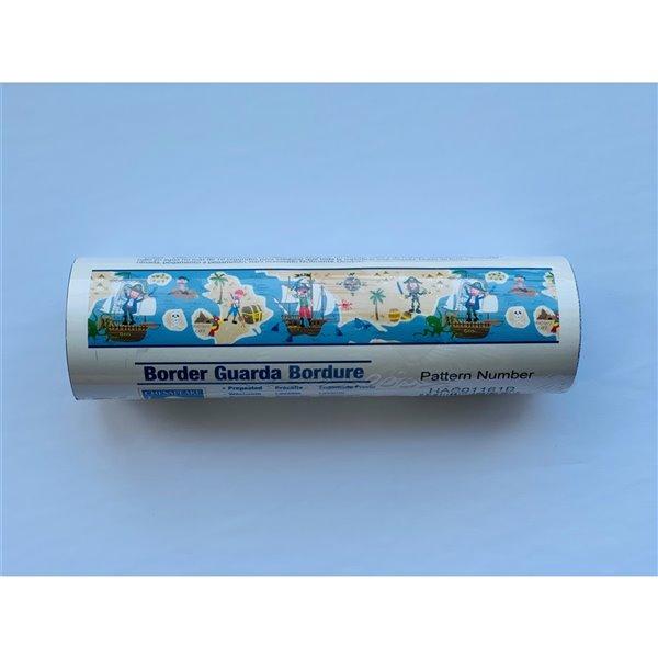 Bordure de papier peint de 6 po préencollée par Dundee Deco, bleu, beige, marron, vert