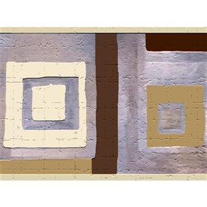 Bordure de papier peint de 7 po auto-adhésive par Dundee Deco, beige, violet, fauve