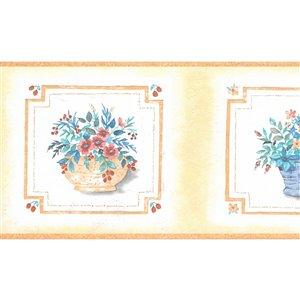 Bordure de papier peint de 5 po préencollée par Dundee Deco, marron, bleu, rose, orange