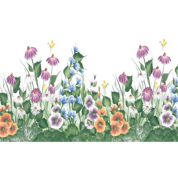 Bordure de papier peint de 6,8 po préencollée par Dundee Deco, violet, vert, orange, bleu, blanc