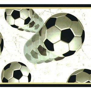 Bordure de papier peint de 6 po préencollée par Dundee Deco, noir, blanc cassé